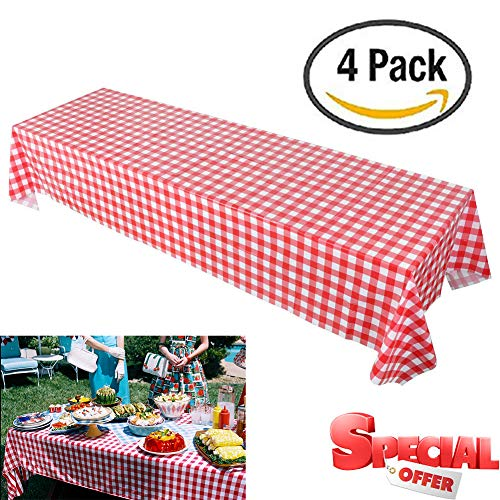 Pack of 4 Plastic Checkered Tablecloths -54 x108'' Picnic Table Covers for Rectangle Table - Red and White Checkered Party Supplies