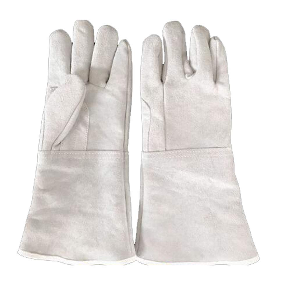 Oven Mitts Heat Resistant Industrial Gloves, Welding Gloves, Wear-resistant, High-temperature Insulation, Fire-resistant, Long 35cm Industrial Gloves, Suitable for Outdoor, Construction, Barbecue (whi