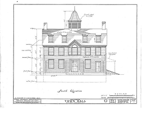 Historic Pictoric Structural Drawing HABS NY,60-SAL,1- (Sheet 2 of 7) - Town Hall, Salem Center, Westchester County, NY 55in x 44in