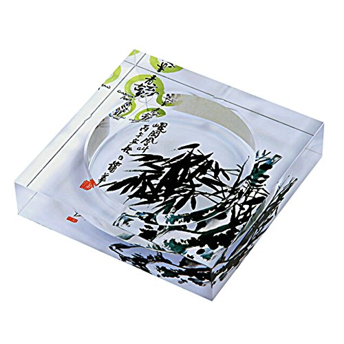 (Kylin Express Elegant Bamboo Creative Gifts Square Crystal Ashtray Glass Cendrier Ashtray)