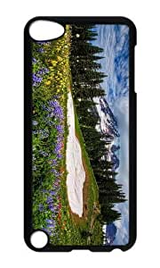 Ipod 5 Case,MOKSHOP Cool mountain wildflowers Hard Case Protective Shell Cell Phone Cover For Ipod 5 - PC Black