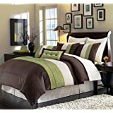 Chezmoi Collection 8-Piece Luxury Stripe Super Soft Comforter Set, Full, Beige, Green and Brown