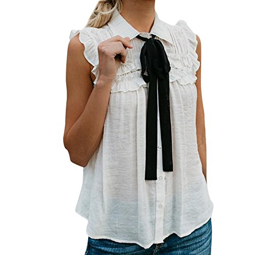 FarJing Hot Sale Women Casual Solid Sleeveless With Tie Ruffled Turn-Down Collar Tank Top Blouse (L,White )