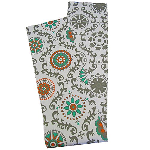 Crabtree Collection Deluxe Reversible Table Runner Double Sided Table Cover with Grey Pinwheel Patterns, Bright Colors for Kitchens and Dining Rooms - Soft and Strong Cotton (12x72) ()
