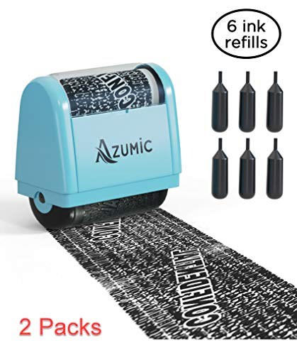 Azumic Identity Theft Protection Roller Stamp 6 Pack Refills - Confidential Address Blocker Anti Theft Prevention Stamps (2 Packs) ()