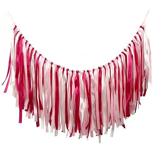 MOWO Ribbon Garland Backdrop Cotton Tassel Banner Hanging Decor,Rose-carmine,Pink,White