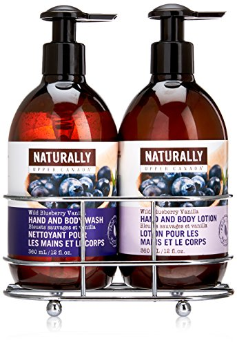 Naturally Hand Wash and Lotion with Caddy Gift Set, Wild Blueberry Vanilla