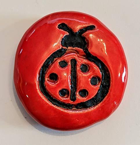 LADYBUG Pocket Stone - Fire Engine Red Art Glaze - Inspirational Art Piece by Inner Art Peace