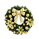 Hot Sale!!Artificial Christmas Holiday Wreath With Warm LED Lights Decorations Home Decor 40cm × 40cm (gold)