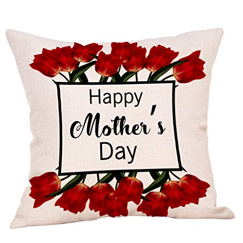Mother's Day Throw Pillow Covers, Floral Print Linen Home Decor Pillow Cases for Sofa Bed Car by Fulijie 18x18 -