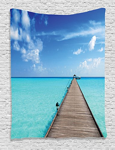 Ambesonne Wooden Bridge Decor Collection  Wooden Jetty Over Clear Maldivian Sea And Tropical Beach Photography  Bedroom Living Kids Girls Boys Room Dorm Accessories Wall Hanging Tapestry  Aqua Blue