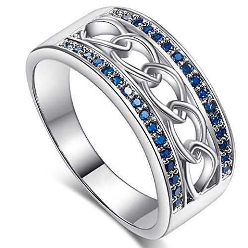 PAKULA Women's Elegant Round Cut Sapphire Quartz CZ Engagement Ring ()