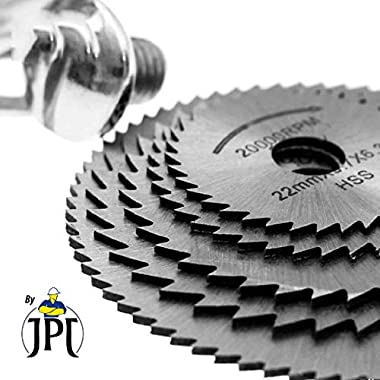 "JPT 5pc 1/8"" Shank High Speed Steel HSS Saw Disc Wheel Cutting Blades with Mandrels for Dremel Fordom Drills Rotary Tools 12"