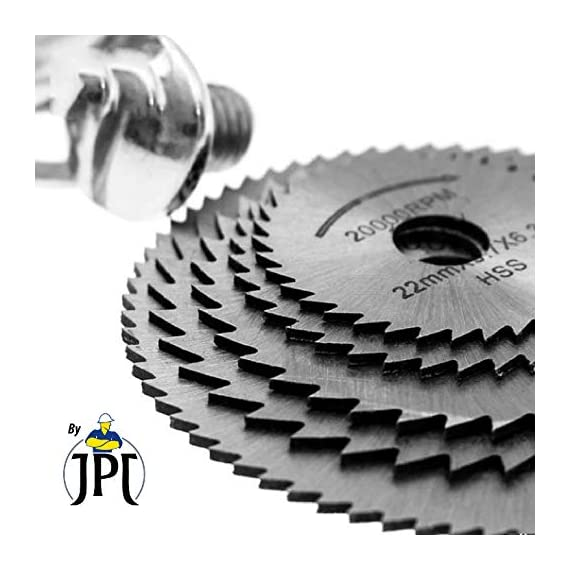 "JPT 5pc 1/8"" Shank High Speed Steel HSS Saw Disc Wheel Cutting Blades with Mandrels for Dremel Fordom Drills Rotary Tools 6"