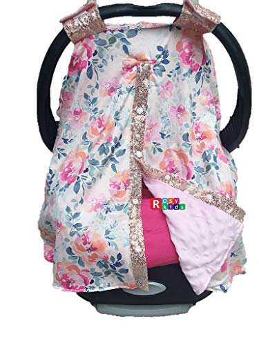 513lSWT59GL - Rosy Kids Infant Carseat Canopy Cover 1pc Wind Proof Baby Car Seat Cover, Sunshade Cover, Fits Any Model, Color25OR02