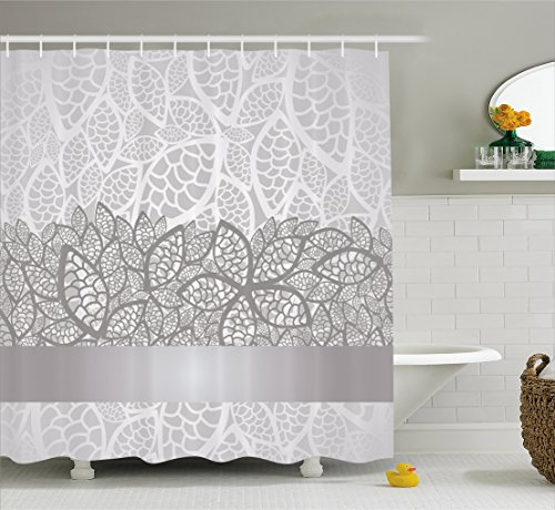 Silver Shower Curtain by Ambesonne, Lace Inspired Flower Motifs Bridal Composition Stylized Leaves Wedding Theme, Fabric Bathroom Decor Set with Hooks, 70 Inches, Gray Silver White