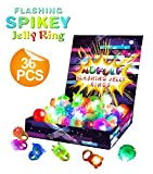 glow in the dark can holder - 36 Pack Flashing Led Bumpy Rubber Rings for Party Favors,Light Up Finger Toy