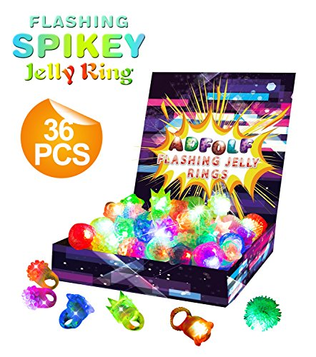 Costumes Easy Halloween Dance (36 Pack Flashing Led Bumpy Rubber Rings for Party Favors,Light Up Finger)