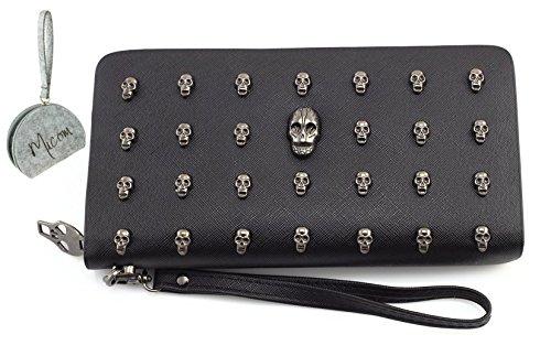 Women Leather Punk Skull Rivet Shoulder Bag Handbag - 8