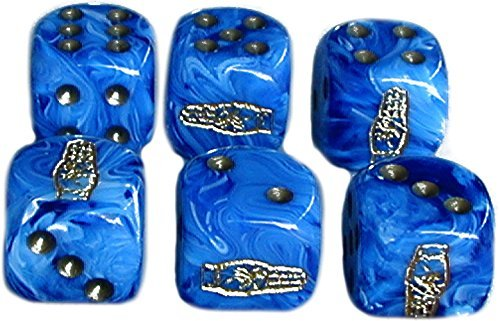 Custom & Unique {Standard Medium 16mm} 6 Ct Pack Set of 6 Sided [D6] Square Cube Shape Playing & Game Dice w/ Rounded Corner Edges w/ Three Finger Salute on Number 1 One Design [Blue & Gold]