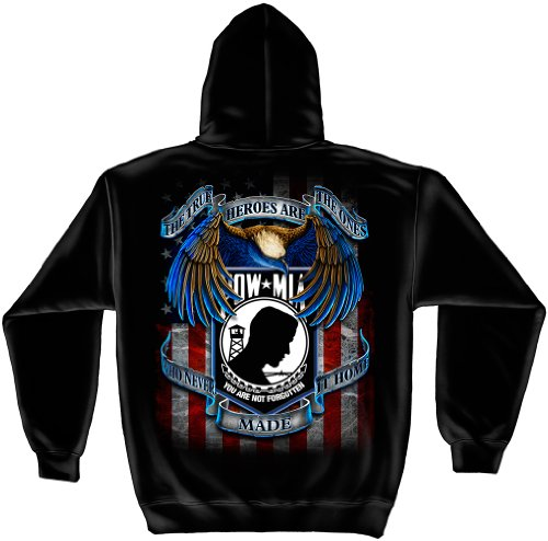 Patriotic Hooded Sweatshirt, 50/50 Cotton Poly Blend Casual Mens Shirts, Show Your Pride with our Tribute True Hero POW MIA Long Sleeve Sweatshirts for Men or Women (Black Printed Cotton Blend)
