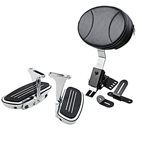 Adjustable Plug-In Driver Rider Backrest w/o Pocket + Chrome Streamline Passenger Floor Board Compatible with 1997-2017 Harley Touring Slotted Seat