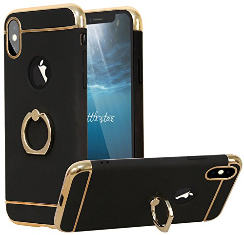 Gold Leather Ring - iPhone X Case, VPR 3 in 1 Ultra Thin Slim Protective Luxury Cover Full Body Coverage Protection Case With 360 Degree Rotating Ring Kickstand For Apple iPhone X / 10 2017 Release (Black Gold)
