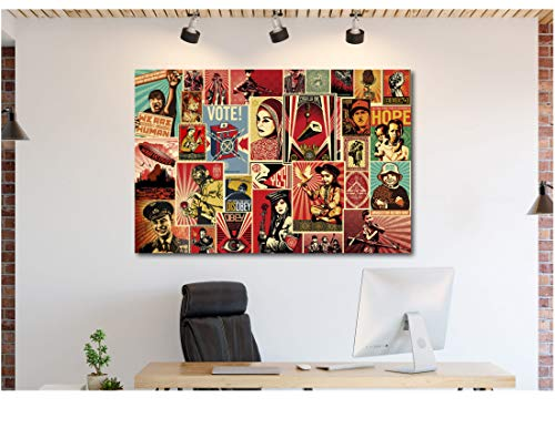 Obey War Collage – Shepard Fairey Canvas Wall Art Framed Print (30in x 45in Framed)