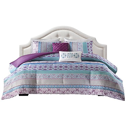 Teen Bedding For Girls Comforter Set Full Queen Twin Purple Blue Turquoise Dorm Room Bedspread Bundle Includes Bonus Sleep Mask From Designer Home (Full/Queen) by ID & DH