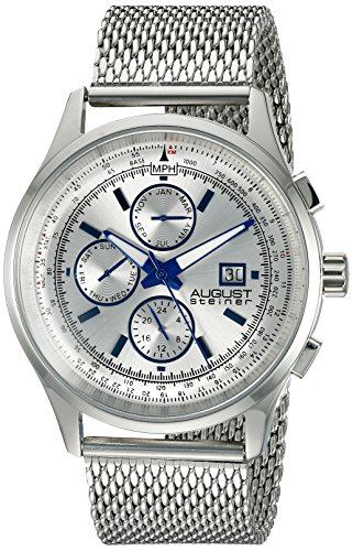 August Steiner Men's AS8194SS  Round Silver Radiant Sunburst Dial Two Time Zone Quartz Bracelet Watch