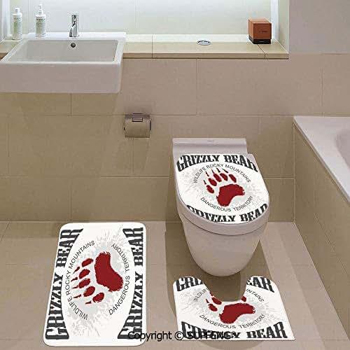 aosup Three-Piece Toilet seat Grunge Bear Footprint Emblem Dangerous Wildlife Mountains Decorative Rug + Lid Toilet Cover + Bath Mat/Non-Slip/Pedestal Digital Print Fashion Art Work