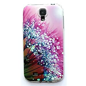 S4 MINI case, Galaxy S4 MINI Case, LUOLNH Purple flower dew Pattern TPU Soft Back Snap On Case Cover Protector for Samsung Galaxy S4 MINI i9190 (Not for S4 i9500 )