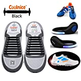 Coolnice® No Tie Shoelaces for Plus Adults 16pcs with LED Shoe Clip Lights- Environmentally Safe Waterproof Silicon- Black Shoelaces with Blue Lights