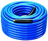 Amflo 554-100A Blue 300 PSI Premium PVC Air Hose 3/8'' x 100' With 1/4'' MNPT End Fittings And Bend Restrictors