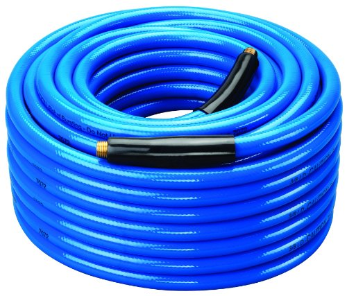 Amflo 554-100A Blue 300 PSI Premium PVC Air Hose 3/8'' x 100' With 1/4'' MNPT End Fittings And Bend Restrictors by Amflo