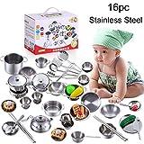 JIANGfu 16Pcs Set Kids Play House Kitchen Toys Cookware Cooking Utensils Pots Pans Gift (Silver, 16PC)