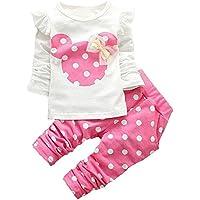 mh-lucky Baby Girl Ropa bebé ropa Set 2piezas con manga larga Tops + Pantalones