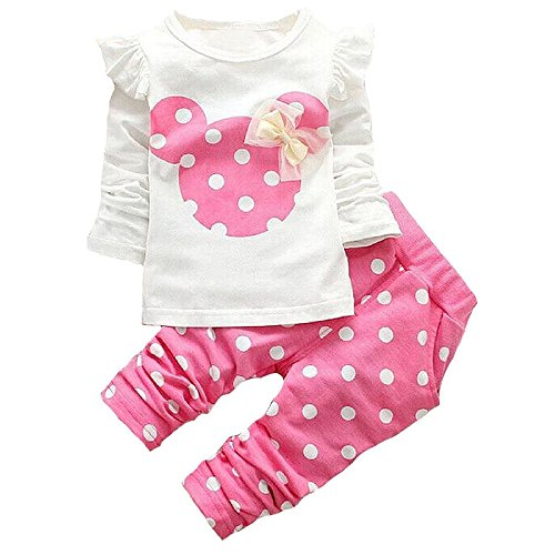 MH-Lucky Baby Girl Clothes Infant Outfits 2pcs With Long Sleeved Clothes Set Tops + Pants (9-12 Months, Pink)