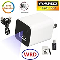Hidden Spy Camera 1080P HD USB Wall Charger (WHITE 2018) Spy Camera Adapter WRD for Home, Office, Business