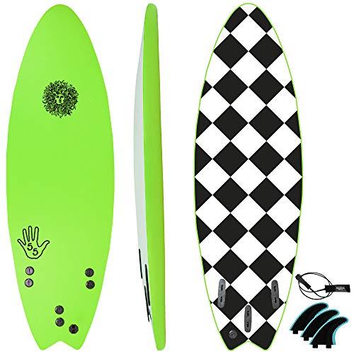 KONA SURF CO. The 5-5 Soft Top Foam Short Softboard Hybrid Boogie Bodyboard Surfboard Package Includes Fins and Leash in Green sz:5ft 5in