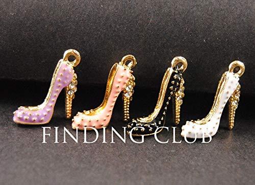(Cell's world - 12pcs Gold Mix Colors Enamel Cubic High Heel Shoe Charm DIY Metal Bracelet Necklace Jewelry Findings B72 )