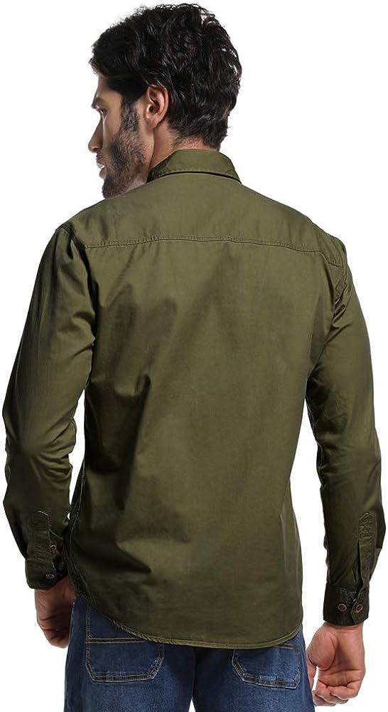 Camisa táctica militar de manga larga para hombre, camisa cargo ideal para trabajo - Verde - Large: Amazon.es: Ropa y accesorios