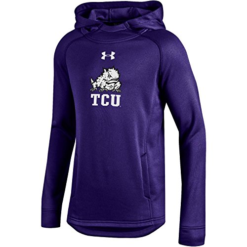 Under Armour NCAA TCU Horned Frogs Boys Tech Terry Hoodie, Medium, Purple (Terry Frog)
