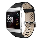 Taolla Compatible with Fitbit Ionic Bands, Breathable Leather Accessory Watch Band Strap Replacement Wristband Large Small Compatible with Fitbit Ionic for Women & Men