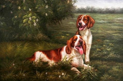 Oil Painting 'Dogs On The Grassland', 30 x 45 inch / 76 x 114 cm , on High Definition HD canvas prints is for Gifts And Kids Room, Kitchen And Living Room Decoration, printing to