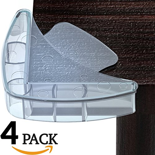 Mekudos Corner Guards - Baby Proofing - Clear - 4 Pack Safety Covers - Large Protector - Child Proof Table Bumpers - Fit for Glass Furniture