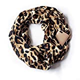 Anyren Zipper Pocket Scarf,Lover Winter Print Convertible Infinity Scarf Loop Scarves (A, 36×180cm)