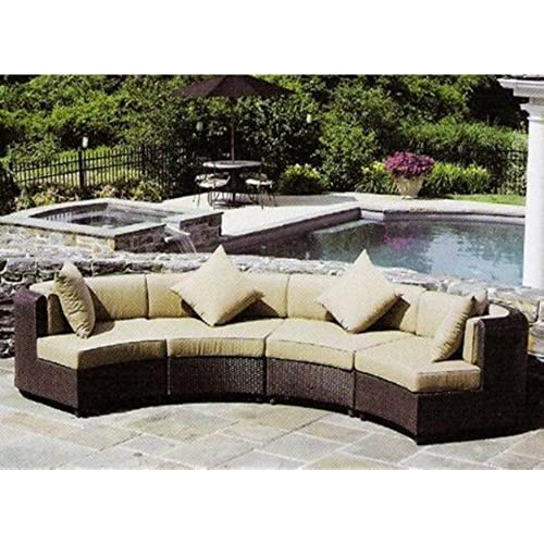 Marvelous Husenoutdoor 4 Pieces Stylish Outdoor Wicker Garden Sofa Set (brown)