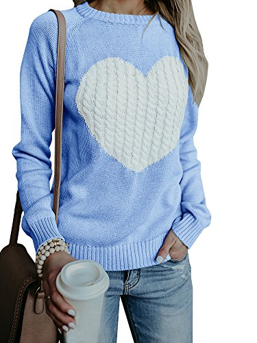 Womens Casual Pullover Sweater Long Sleeve Crew Neck Heart Printed Knit Sweater Tunic Tops ()
