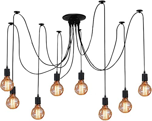 ZHMA Ceiling Spider Lamp Light Pendant Lighting, Antique Classic Adjustable DIY Lighting Chandelier Modern Chic Industrial Dining 8 Arms Each with 1.7m Wire